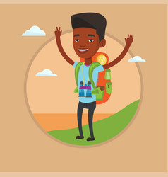 backpacker with his hands up enjoying the scenery vector image