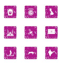 Backward country icons set grunge style vector