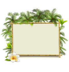Bamboo Frame with Palm vector image