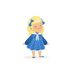 Beautiful blonde little girl posing in blue dress vector