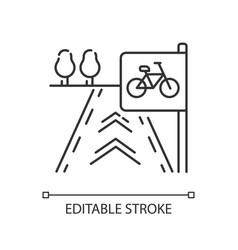 Bicycle lane pixel perfect linear icon vector