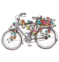 Bike with flowers design element for wedding vector