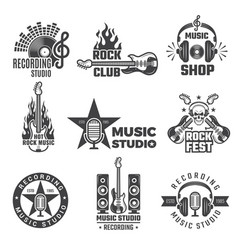 Black music labels vintage vinyl cover record vector