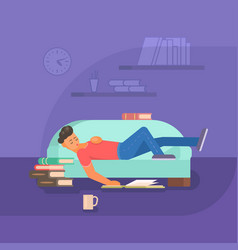 Boy reading book on sofa flat vector