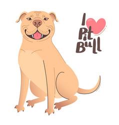Buckskin brown beige pit bull terrier i love vector