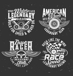 car rally race tshirt prints with flag and wheel vector image