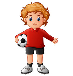 cartoon boy holding soccer ball vector image