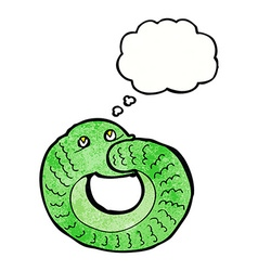 Cartoon snake eating own tail with thought bubble vector