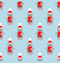 Cat in hat pattern vector