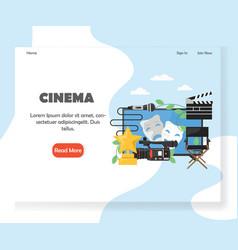 Cinema website landing page design template vector
