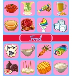 Collection of icons food vector image