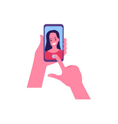 cute cheerful young woman making selfie vector image