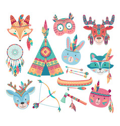 cute native american or indian animal icons vector image