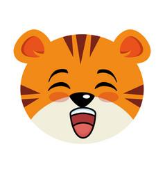Cute tiger kawaii character vector