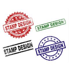 damaged textured stamp design stamp seals vector image