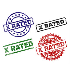 Damaged textured x rated stamp seals vector