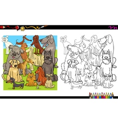 dog characters for coloring vector image