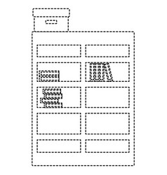 Dotted shape bookcase with books inside and box vector
