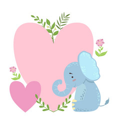 Elephant with two big hearts and plants vector