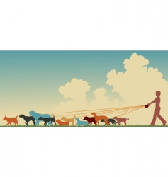 female dog walker vector image