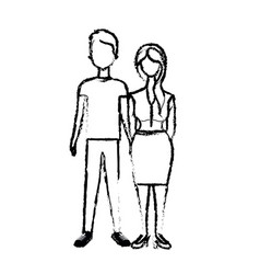 Figure nice couple with hairstyle and wear vector
