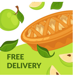 free delivery on apple desserts pie with slices vector image
