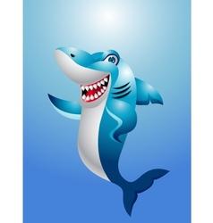 Funny shark cartoon vector image