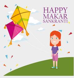 Girl and kites to celebrate makar sankranti vector
