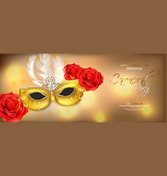 golden mask with feathers realistic vector image