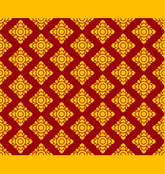 Golden thai pattern seamless art on dark red vector