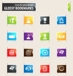 Goods for pets bookmark icons vector