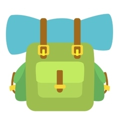 Green backpack icon cartoon style vector