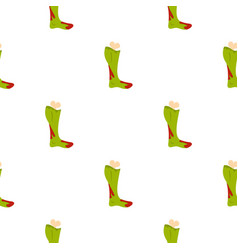 Green foot of zombie in the blood pattern seamless vector