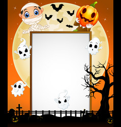 Halloween sign with little mummy pumpkin mask and vector
