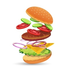 Hamburger ingredients emblem vector image