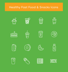 Healthy fast food white icons vector