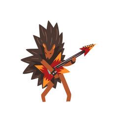 hedgehog playing electric guitar cartoon animal vector image