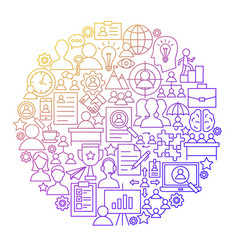 Hr management line icon circle design vector