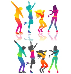 Isolated dancing people vector image
