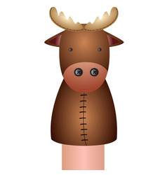 Isolated moose puppet vector