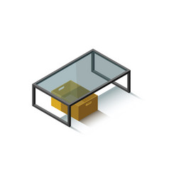Isometric glass coffee table vector