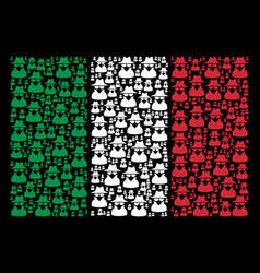 Italy flag pattern of spy items vector