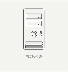 Line flat computer part icon housing body vector