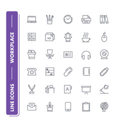 Line icons set workplace vector