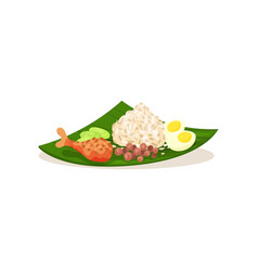 Malaysian nasi lemak on green leaf rice with vector