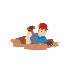 Male archaeologist digging soil layers scientist vector