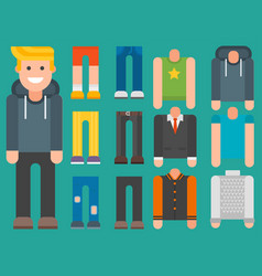 Man constructor body avatar creator cartoon vector