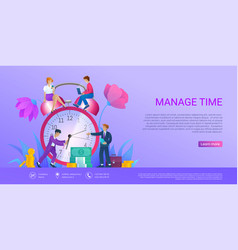Manage time landing page vector