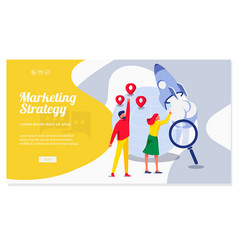 Marketing strategy landing page template vector