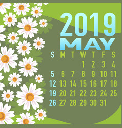 may 2019 calendar template with abstract vector image